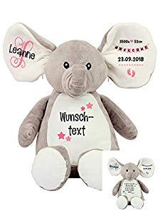 Elefant Baby Geschenk Kuscheltier Geschenkidee Zur Geburt Taufe Personalisiert Mit Namen Geburtsdaten Taufspruch